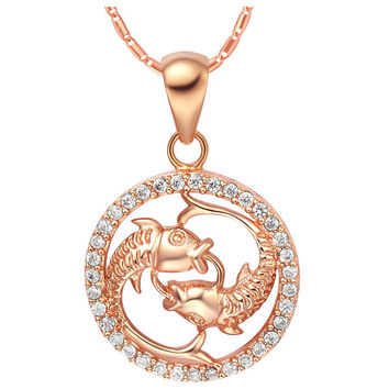 18k Gold Plated Cubic Zirconia Pisces Pendant Necklace [7279211847]