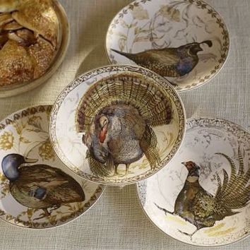 Thanksgiving Bird Salad Plates, Set of 4 | Pottery Barn