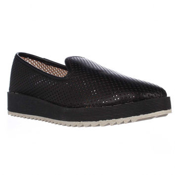Steven Steve Madden Bangerr Perforated Loafer Flats - Black