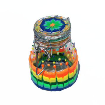 Glow in the Dark Tie Dye Hand-Painted Glass Stash Jar