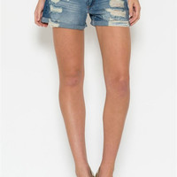 Distressed Boyfriend Shorts, Denim