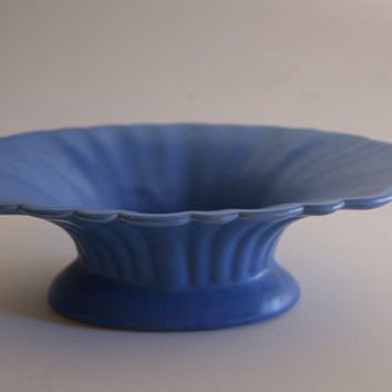 Vintage Oval Blue Ceramic CATALINA ISLAND Footed Serving Bowl Or Vase With Makers Mark Early 1900s