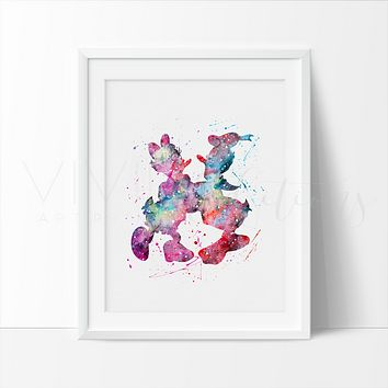 Donald Duck and Daisy Duck Watercolor Art Print