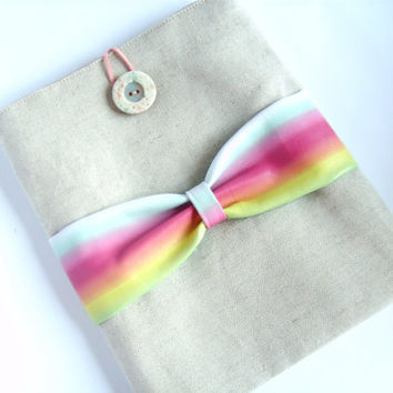 iPad cover, bow case, tablet sleeve, neon rainbow vegan leather and linen