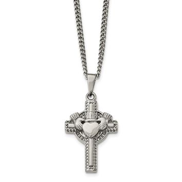 Stainless Steel Polished Claddagh Cross Necklace 20in