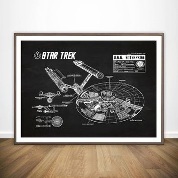 Star Wars Star Trek Blueprint Wall Art Paint Prints Canvas Art Poster Oil Paintings for Living Room No Frame
