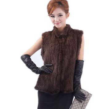 New arrivals genuine mink fur vest women knitted mink fur jacket winter mink waistcoats Free EMS