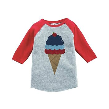 Custom Party Shop Ice Cream 4th of July Raglan Tee