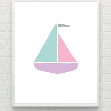 Printable Nursery Art Print, Pastel Nursery Decor, Nautical Nursery Wall Art , 8x10 JPG, Printable DIY Wall Art Print, Baby Minimalist Print