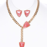 Triangular Glass Stone Earring & Necklace Set