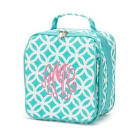 Monogrammed Lunchbox Lunchbag Aqua Sadie Geometric Insulated Cooler School Personalized Lunch Box Bag