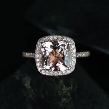 Hollie 14kt Rose Gold Cushion Morganite and Diamonds Halo Engagement Ring (Other metals and stone options available)