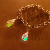 Glow in the Dark - Green Aqua Sea Shell Charm Bracelet - Toggle Chain Heart Clasp
