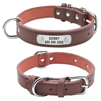 Leather Dog Collar-Personalized Pet ID