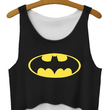Sleeveless Batman Print Crop Top (one size) (Color: Black) = 1927961156