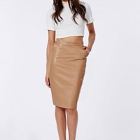 Missguided - Mariota Faux Leather Pencil Skirt Camel
