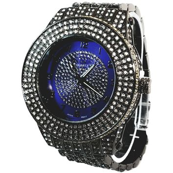 Techno King Elite Mens Gun Metal Black Finish Dress/Casual Mens Watch Blue Frosted Face Watch Metal Band Bling