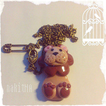 Lion Handmade Shiny Necklace (clay and bronze chain, cute Charm, vintage, The King of All Animals, Great Gift idea)