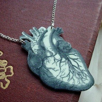 anatomical human heart necklace by TheTamerlane on Etsy