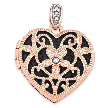 14k Rose Gold 18mm Vintage Heart w/Diamond blk interior Locket XL665