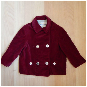 Vintage 60s Little Boys Toddler Red Maroon Corduroy Fall Blazer Dapper Sport Coat 2T