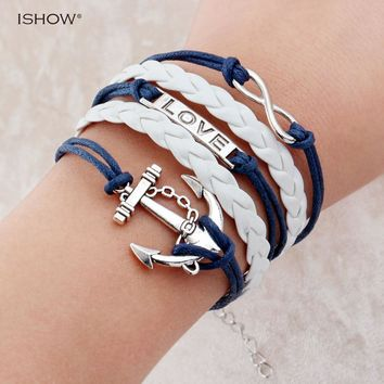 Hot Sale Fashion jewelry anchor rudder love owl charm bracelets best friend friendship bracelet and bangles For Man Woman