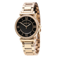 Michael Kors MK3356 Women's Catlin Pave Crystal Bezel Black Dial Rose Gold Steel Bracelet Watch
