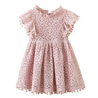 Kids Girl Ball Gown Dress Toddler Girl Summer Lace Dress 6 7 8 Year Princess Birthday Party Dress Children Clothing