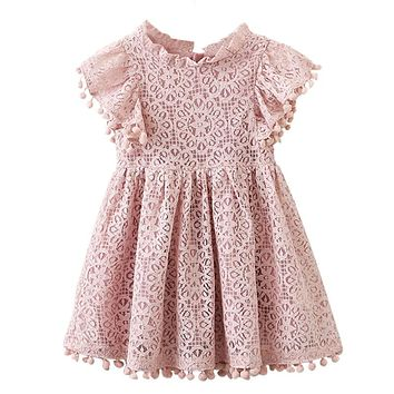 Kids Girl Ball Gown Dress 2017 Toddler Girl Summer Lace Dress 6 7 8 Year Princess Birthday Party Dress Children Clothing