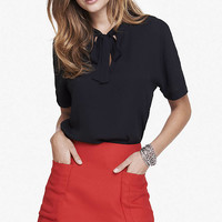 BLACK TIE FRONT SHORT SLEEVE BLOUSE from EXPRESS