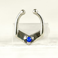 Septum Ring Nose Ring Septum Jewelry Body Blue Opal Stone Piercing  Sterling Silver Indian Style 14g 16g - SE029F SS OP27