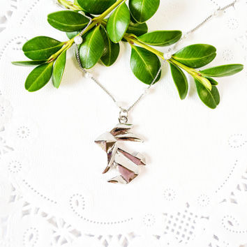 Silver  plated geometric necklace / Silver Necklace with 3D Origami Bunny Silver Plated Pendant / Bridesmaid gift / statement necklace