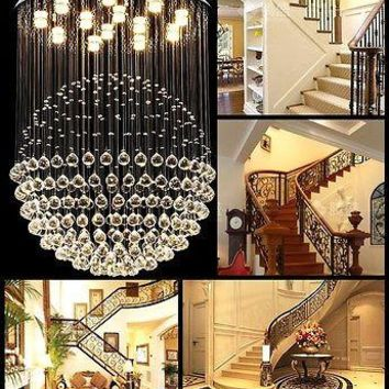 Modern K9 Crystal Ball Hanging LED Gallery Semi-Flush Mount Chandelier Pendant