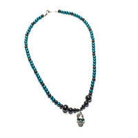 Black and Blue beaded Skull with Rhinestones necklace