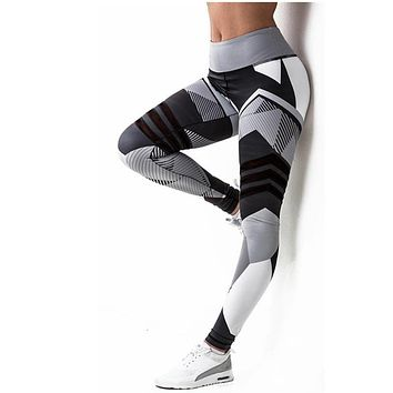 Armor Abstract Pattern Fashion Leggings - Ladies High Waist Fitness Leggings