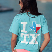 I Texas Texas Red & White Short Sleeve - Lagoon Blue