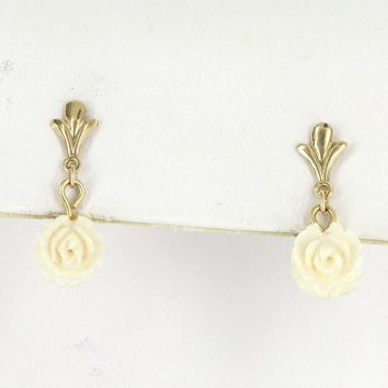 Vintage Small Carved White Coral Flower Drop Earrings 14 Karat Yellow Gold Pre Owned