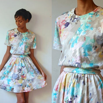 Vtg Watercolor Impressionist Floral Print Belted Retro Dress