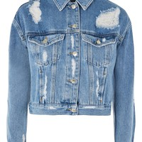 MOTO Fitted Ripped Denim Jacket - Denim - Clothing