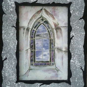 Oakland Cemetery Stained Glass Window Print with Hand Painted Cardboard Mat SMALL VERSION