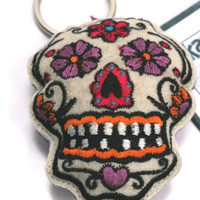 Karma Living Sugar Skull Embroidered Key Chain