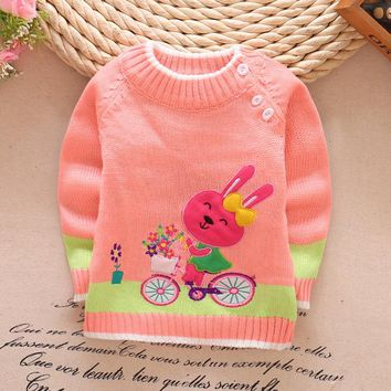Sweater girl baby clothes Girls Shirt  Kitty Wool sweater Plus velvet baby girlsclothing Cotton Plush clothes New winter