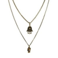 Jamie Jewellery Skull & Hamsa Hand Lucky Charm Necklace at asos.com