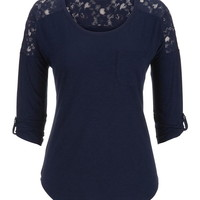 Drop Shoulder Lace Shoulder Tee With Pocket