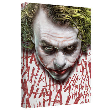 The Joker Face Dark Knight Stretched Canvas Wall Art