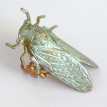 Brass Cicada Ring, Locust Jewelry, Insect Jewelry, Green Cicada Ring, Patina Ring, Green Ring, Goth Ring, Pink Cicada, Bug Jewelry, SRAJD