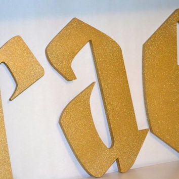 Glitter Gold 6 to 17 inch Letters Wood Cut Out Hand Painted Wooden Letters Harry Potter Inspired Font Custom Wall Hanging  Name
