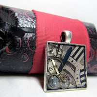 Vintage Watch Face Steampunk Resin Square Pendant