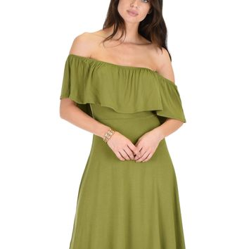 Lyss Loo Wait And See Off The Shoulder Olive Midi Dress