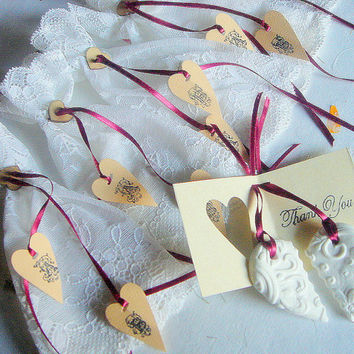 Wedding Date Favor Heart & lace bag 5 sets by accessory8 on Etsy